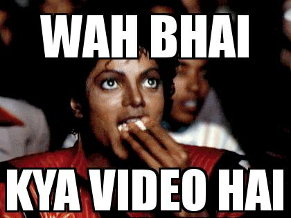 Michael Jackson Popcorn with the caption wah bhai kya video hai