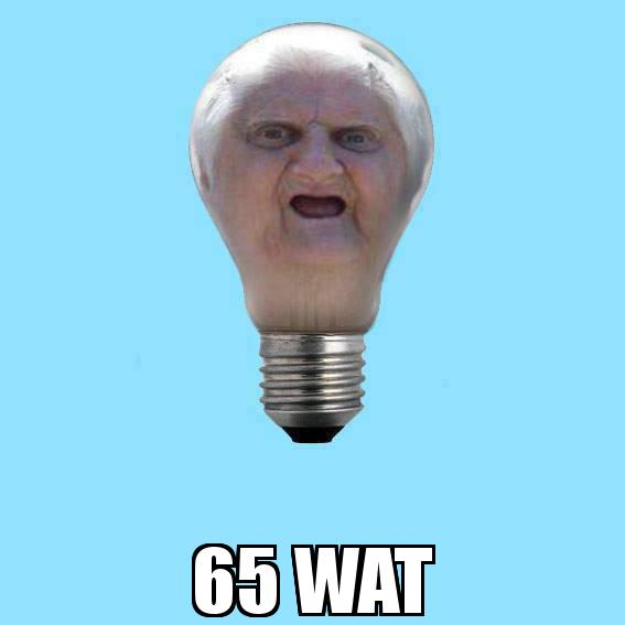 65 Wat Lady as a Light Bulb  with the caption  65 WAT
